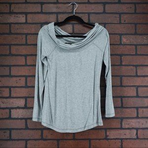 FEVER Cowl Neck Off Shoulder Gray Ribbed Top NWT